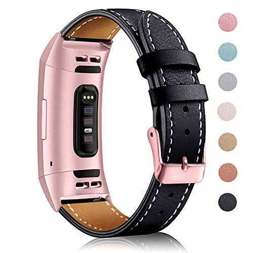 Hotodeal Leather Band Compatible Fitbit Charge 3 and Charge 3 SE, Classic Genuine Leather Replacement Bands with Metal Connectors for Women Men Small and Large Size Silver, Rose Gold, Black