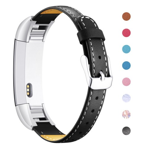 For Fitbit Alta and Alta HR Strap Genuine Leather, Mornex Classic Adjustable Replacement Wristband with Metal Connectors for For Fitbit Alta (HR) Fitness Accessories