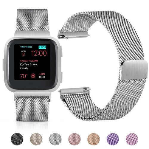 Mornex for Fitbit Versa Strap Watch band, Milanese Stainless Steel Adjustable Metal Wristband Replacement Smartwatch Bracelet Accessories with Magnet Lock for Fitbit Versa Small Large Women Men