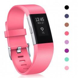 For Fitbit Charge 2 Strap Bands, Mornex Classic Adjustable Wristband Replacement, TPU Band Sport Straps with Metal Clasp for For Fitbit Charge 2, Rose Red