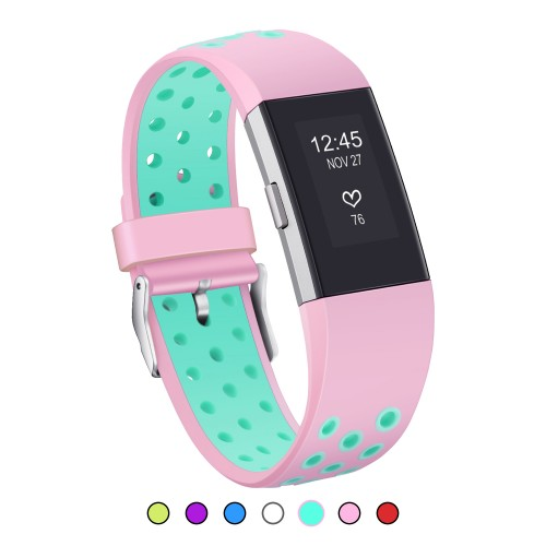 For Fitbit Charge 2 Strap Bands, Mornex Soft TPU Sports Wristbands Bracelet Replacement Straps with Breathable Holes, Adjustable Watchband for For Fitbit Charge 2 Pink Teal