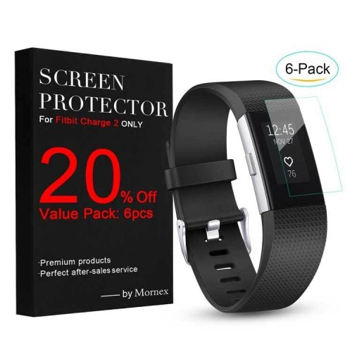 For Fitbit Charge 2 Screen Protector(6 Pack), Mornex Full Coverage TPU Ultra Clear Screen Film Cover Guard for For Fitbit Charge 2