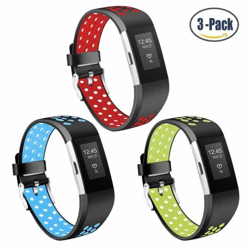 For Fitbit Charge 2 Strap Bands, Mornex Soft TPU Sports Wristbands Bracelet Replacement Straps with Breathable Holes, Adjustable Watchband for For Fitbit Charge 2