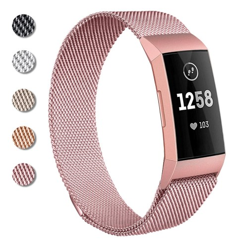 Mornex Metal Straps Compatible Fitbit Charge 3, Milanese Loop Stainless Steel Wristn Strap Magnetic Adjustable Replacement Bands for Women Men Small & Large, Rose Gold