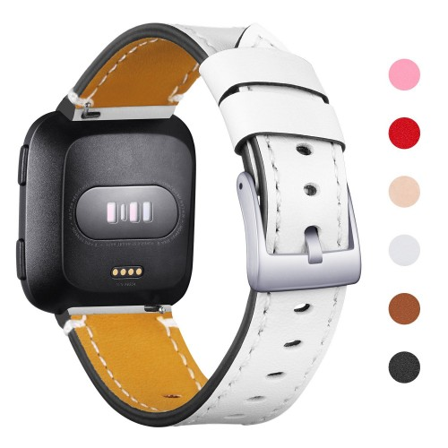 Mornex For Fitbit Versa Straps, Genuine Leather Replacement Fitness Adjustable Wristband for Fitbit Versa Smartwatch, Small Large